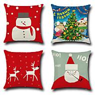 4つ 個 コットン/リネン 枕カバー,ノベルティ柄 ファッション クリスマス レトロ風 クラシック ユーロ クリスマス