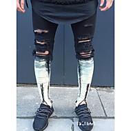 Herrer Punk & gotisk Gade Uelastisk Tynd Tynd Jeans Bukser,Alm. taljede Denimstof Farveblok