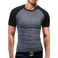 Masculino Camiseta Esportes Para Noite Casual Trabalho Bandagem Simples Moda de Rua Activo Primavera Verão,Estampa ColoridaAlgodão