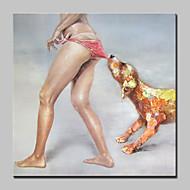 billiga Oljemålningar-Hang målad oljemålning HANDMÅLAD - Popkonst Abstrakt Modern Duk