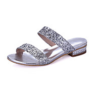 Women's Sandals Comfort Leatherette Spring Summer Dress Walking Comfort Buckle Chunky Heel Silver Gold 1in-1 3/4in