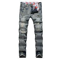 Homens Tamanhos Grandes Delgado Reto Solto Delgado Jeans Calças - Sólido, rasgado