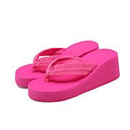 Feminino Chinelos e flip-flops Conforto Tecido Verão Casual Conforto Anabela Preto Vermelho Rasteiro