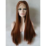 Kvinder Syntetisk Lace Front Parykker Medium Lang Ret Medium Rødbrun Naturlig paryk Kostumeparyk