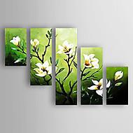 billiga Blom-/växtmålningar-Hang målad oljemålning HANDMÅLAD - Blommig / Botanisk Abstrakt / Modern / Ny ankomst Inkludera innerram / Fem paneler