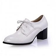 povoljno -Ženske Cipele PU Proljeće Jesen Udobne cipele Inovativne cipele Cipele na petu Hodanje Kockasta potpetica Okrugli Toe Vezanje Za Formalne