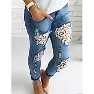 Feminino Boho Cintura Alta strenchy Solto Jeans Calças,Solto Jeans Sólido