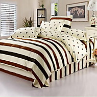 cheap Contemporary Duvet Covers-Stripe 4 Piece Cotton Cotton 1pc Duvet Cover 2pcs Shams 1pc Flat Sheet