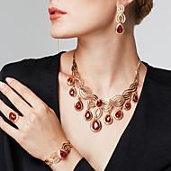 Žene Kubični Zirconia Umjetno drago kamenje 18K Gold Luksuz Nakit Set uključiti 1 Ogrlica 1 par naušnica 1 narukvica 1. Prsten Narukvica