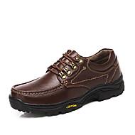 Masculino Oxfords Aventura Conforto Solados com Luzes Sapatos formais Pele Outono Inverno Casual Cadarço RasteiroCastanho Escuro Castanho