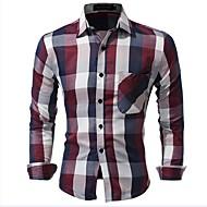 Homens Camisa Social - Final de semana Vintage Clássico Fashion Estampado, Xadrez Marcas Famosas Moderno Algodão Delgado