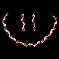 Žene Kubični Zirconia Nakit Set Kubični Zirconia Ispustiti Simple Style, Moda, Elegantno uključiti Viseće naušnice Choker oglice Svadbeni nakit Setovi Pink / Crvena / Plava Za Vjenčanje godišnjica