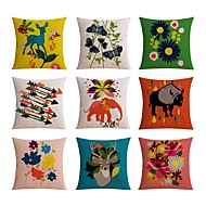 cheap Throw Pillows-9 pcs Linen Pillow case Sofa Cushion Travel Pillow Body Pillow Bed Pillow Pillow Cover, Floral Sports and Outdoors Graphic Prints Pattern