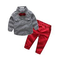 Drenge Tøjsæt Ensfarvet, Bomuld Polyester Forår Efterår Langærmet Blå