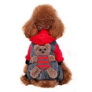 Hund Kostume Frakker Hættetrøjer Bukser Hundetøj Bjørn Gul Rød Flannelstof Bomuld Kostume For kæledyr Herre Dame Fest Cosplay Mode
