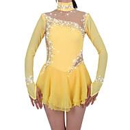 abordables Robe de Patinage-Robe de Patinage Artistique Femme / Fille Patinage Robes Jonquille Spandex Strass Haute élasticité Utilisation Tenue de Patinage Fait à