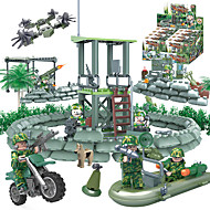 cheap -GUDI Building Blocks Military Blocks Block Minifigures 318 pcs Soldier / Warrior Military Tank Fighter Aircraft compatible Legoing Camouflage DIY Unisex Boys' Girls' Toy Gift
