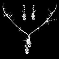Damen Kubikzirkonia Schmuck-Set Zirkonia, Silber Tropfen Simple Style, Elegant Einschließen Tropfen-Ohrringe Halsketten Brautschmuck Sets Silber Für Hochzeit Jahrestag Party Verlobung Zeremonie