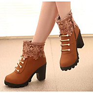 Women's Shoes Real Leather PU Fall Winter Comfort Fashion Boots Boots For Casual Black Brown