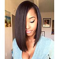 Γυναικείο Περούκες από Ανθρώπινη Τρίχα Φυσικά μαλλιά Δαντέλα Μπροστά Δαντέλα Μπροστά Χωρίς Κόλλα 150% Πυκνότητα Ίσια Περούκα Μαύρο Κοντό