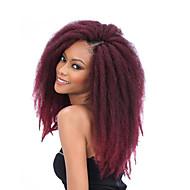 Afro Kinky Vlechten Haakwerk Afro Kanekalon Zwart / Bourgondië Medium bruin Zwart rood Zwart / Paars Grey Gradient Haarextensions 45cm