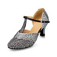 """billige Moderne sko-Dame Moderne Silke Kunstlær Sandaler Joggesko Profesjonell Rhinsten Spenne Tykk hæl Svart/Hvit 2 """"- 2 3/4"""" Kan spesialtilpasses"""