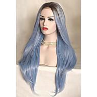 halpa -Uniwigs Naisten Synteettiset peruukit Lace Front Keskikokoinen Suora Taivaan sininen Liukuvärjätyt hiukset Luonnollinen peruukki Rooliasu