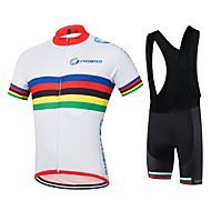 Camisa com Bermuda Bretelle Homens Manga Curta Moto Pulôver Camisa/Roupas Para Esporte Shorts Camisa BlusasSecagem Rápida Permeável á