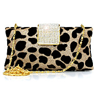 cheap Bags-Women Bags Suede Evening Bag Leopard Rhinestone Chain for Wedding Event/Party Casual Sports Formal Outdoor Office & Career Spring/Fall