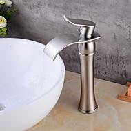 billige Sprinkle®-kraner-Baderom Sink Tappekran - Foss Nikkel Børstet Vannrett Montering Enkelt Håndtak Et HullBath Taps