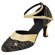 "Women's Modern Glitter Sandal Performance Paillette Cuban Heel Gold Black 2"" - 2 3/4"" Customizable"