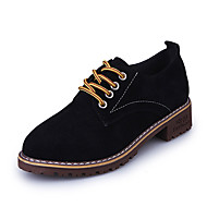 Women's Shoes PU Winter Fall Light Soles Oxfords Flat Heel Round Toe for Casual Black Red Green