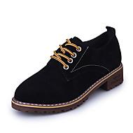 נשים נעליים PU חורף סתיו סוליות מוארות נעלי אוקספורד שטוח בוהן עגולה ל קזו'אל שחור אדום ירוק