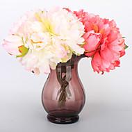 5 Gren Plastikk PU Ekte Touch Peoner Bordblomst Kunstige blomster