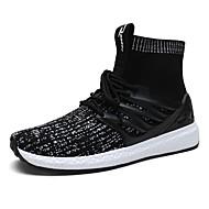 Χαμηλού Κόστους Black High Tops-Ανδρικά Παπούτσια Τούλι Χειμώνας Άνοιξη Καλοκαίρι Φθινόπωρο Ανατομικό Αθλητικά Παπούτσια Περπάτημα Μποτίνια Κορδόνια για Causal Μαύρο