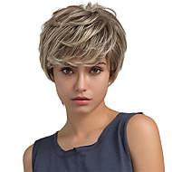 baratos -Mulher Perucas de cabelo capless do cabelo humano Ash Brown Curto Liso Corte Pixie Corte em Camadas Com Franjas Parte lateral