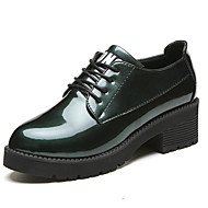 cheap Women's Oxfords-Women's Shoes Rubber Summer Comfort Oxfords Walking Shoes Low Heel Round Toe Lace-up for Outdoor Black Light Grey Army Green Burgundy