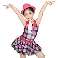 billige Udsalg-Dansetøj til børn Kjoler Dame Ydeevne Spandex Tyl Pailletter Lycra Niveauer Strå Draperet Uden ærmer Naturlig Kjole Halsklæder Hat Shorts