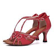 billige Salsasko-Damer Latin Silke Sandaler Hæle Optræden Bjergkrystal Spænde Kegleformet hæl Sort Brun Rød Grøn Hudfarve 7,5 cm