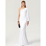 Denizkızı / trompet tek omuz süpürme / fırça tren forması resmi gece elbisesi ts couture®