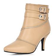 お買い得  人気靴-女性用 靴 レザーレット 冬 秋 コンフォートシューズ ブーツ スティレットヒール ポインテッドトゥ ジッパー のために カジュアル ドレスシューズ パーティー ホワイト ブラック アーモンド