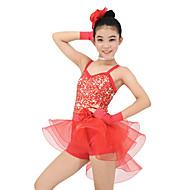 お買い得  セール-子供用ダンスウェア セット 子供用 性能 オーガンザ ライクラ スパンコール ノースリーブ ナチュラルウエスト