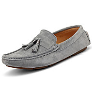 cheap Extended-Size Shoes-Men's Shoes Cowhide Spring Fall Moccasin Loafers & Slip-Ons Walking Shoes Tassel For Casual Black Gray Blue Dark Brown Khaki