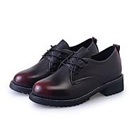 Damer Fladsko Komfort Formelle sko PU Efterår Afslappet Formelt Gang Komfort Formelle sko Snøring Flad hæl Sort Rød 2,5-4,5 cm