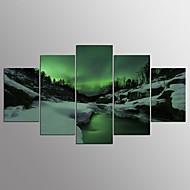 billiga Väggkonst-Stretchad Kanvastryck Abstrakt, Fem paneler Duk Horisontell Tryck väggdekor Hem-dekoration