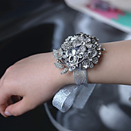 Luxury Diamond High-Grade Grey Bride Wrist Corsages Wedding Accessories