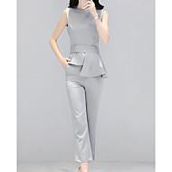 Dámské Jednobarevné Ležérní Jednoduchý Blejzr Kalhoty Obleky-Léto Kulatý Bez rukávů Není elastické