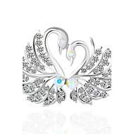 Dame Syntetisk Diamant Nåler Fugl Dyr Brosje Smykker Sølv Til Bryllup Fest