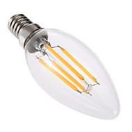 billige Stearinlyslamper med LED-4W E14 LED-lysestakepærer C35 4 leds COB Mulighet for demping Dekorativ Varm hvit 300-400lm 2800-3200K AC 220-240V