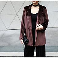 Langærmet Krave Damer Normal Ensfarvet Forår Simple Afslappet/Hverdag Blazer,Polyester